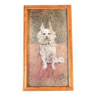 """Vintage Toulouse Lautrec Dog Print Framed """"Follette"""" For Sale"""