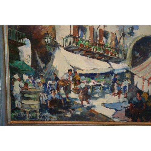 French Oil on Board Painting of French Market, Signed Lower Left For Sale - Image 3 of 5
