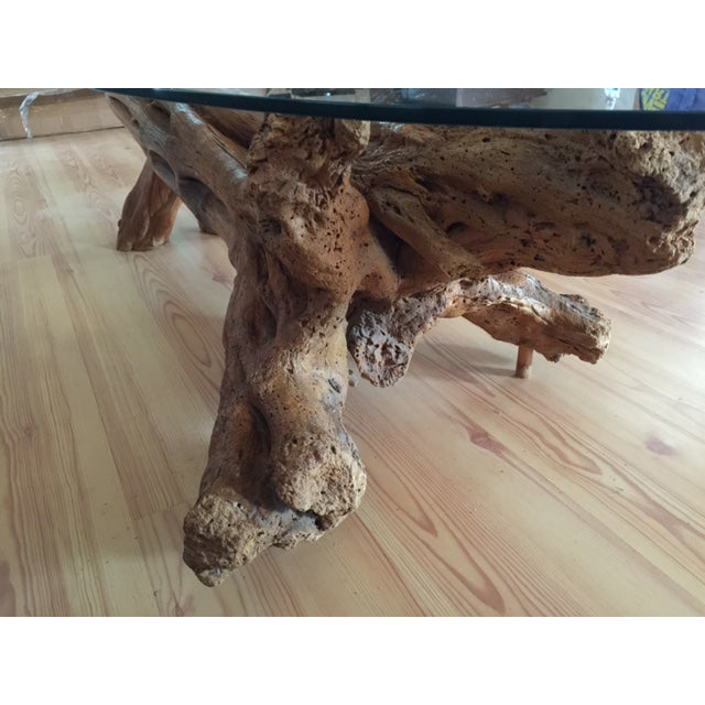 Driftwood Base Coffee Table With Glass Top - Image 7 of 9