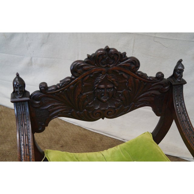 19th Century Oak Renaissance Savonarola Arm Chair - Image 9 of 10