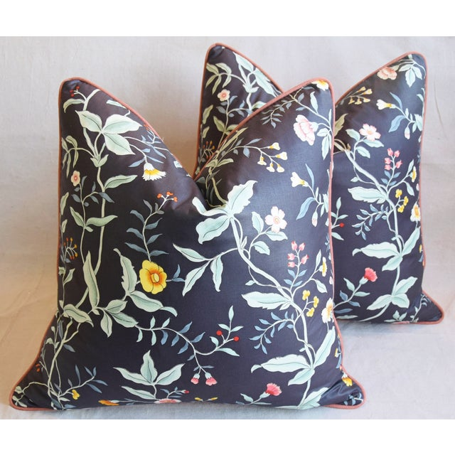"""Cotton Designer Clarence House Floral Fabric Feather/Down Pillows 23"""" Square - Pair For Sale - Image 7 of 13"""