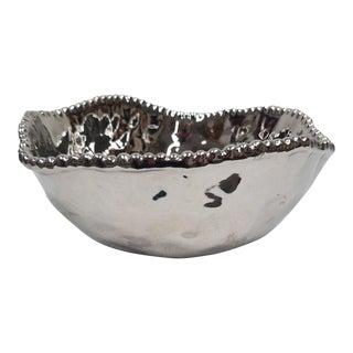 Silver Colored Large Porcelain Salad Bowl For Sale
