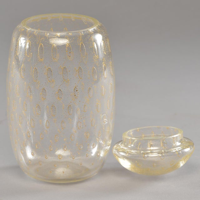 Mid-Century Murano Glass With Gold Inclusions Lidded Vessel For Sale In Detroit - Image 6 of 8