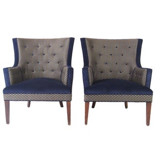 Geometric Tufted Lounge Chairs - A Pair