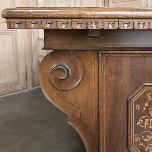Antique Italian Baroque Inlaid Walnut Draw Leaf Dining Table For Sale - Image 11 of 13