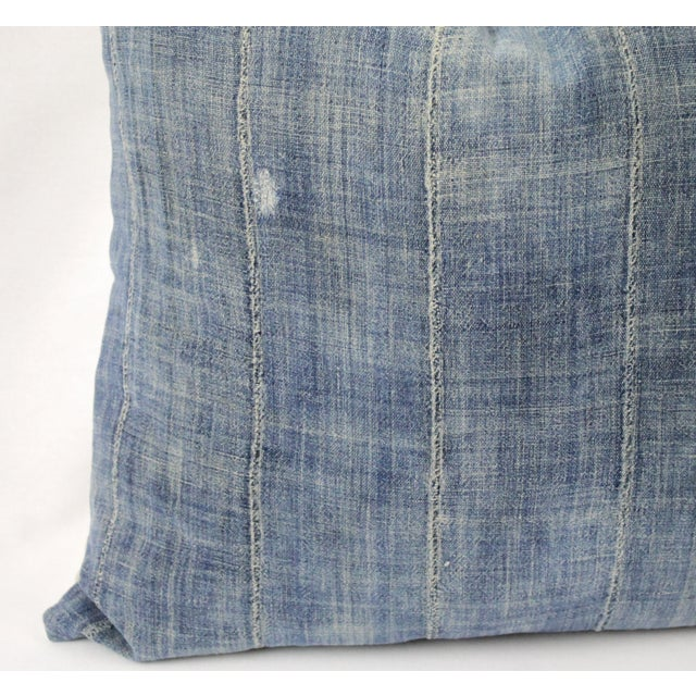 Early 20th Century Vintage Blue Distressed Denim Pillow For Sale - Image 5 of 10