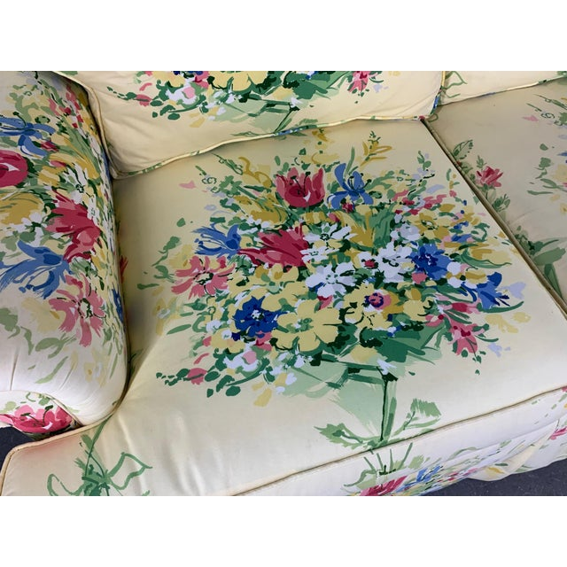 1980s Pair of Floral Upholstered Sofas by Sherrill For Sale - Image 5 of 9