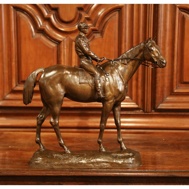 Late 19th Century 19th Century French Bronze Racehorse and Jockey Sculpture Signed Paul Comolera For Sale - Image 5 of 13