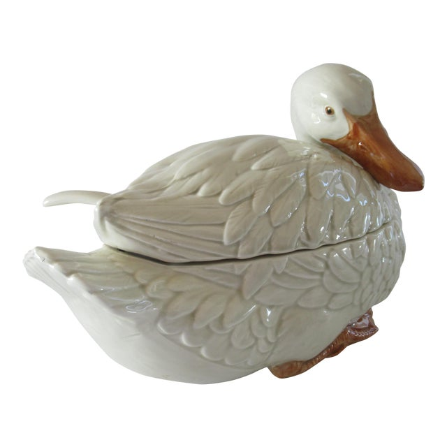 Vintage Fitz & Floyd Duck Ceramic Soup Tureen With Ladle For Sale