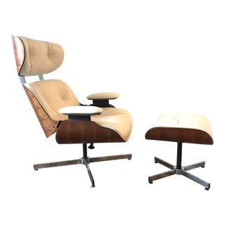 Mid Century Modern Plycraft Restored Ivory Leather Lounge Chair and Ottoman For Sale