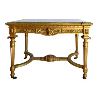 18th-Century French Louis XVI Giltwood Console Table With Inset Onyx Top For Sale