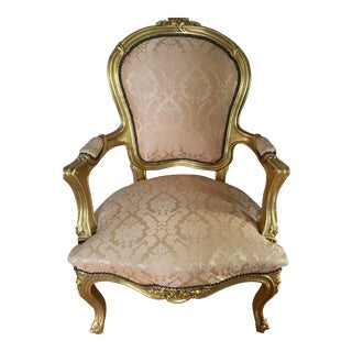 Gold Upholstered Arm Chair For Sale