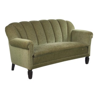 1940s Vintage French Art Deco Moss Green Sofa For Sale