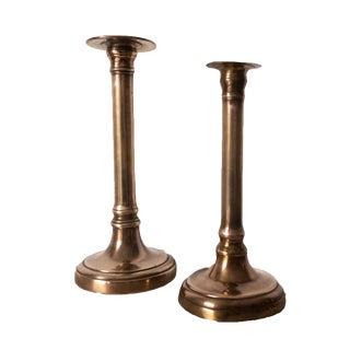 Antique French Bronze Empire Candlesticks Candleholders - a Pair For Sale