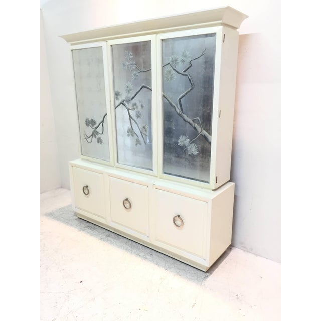 Mid-Century Modern Robsjohn-Gibbings for Widdicomb Cabinet With Sliver Leaf Door Panels For Sale - Image 3 of 9