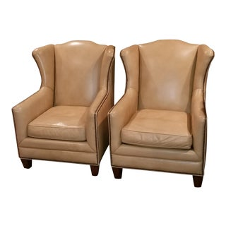 Modern Henredon Leather Wing Chairs- A Pair For Sale