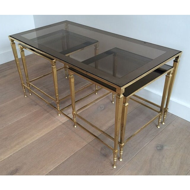 1940s 1940's Nesting Coffee Table With Smoked Portrait Glass For Sale - Image 5 of 7