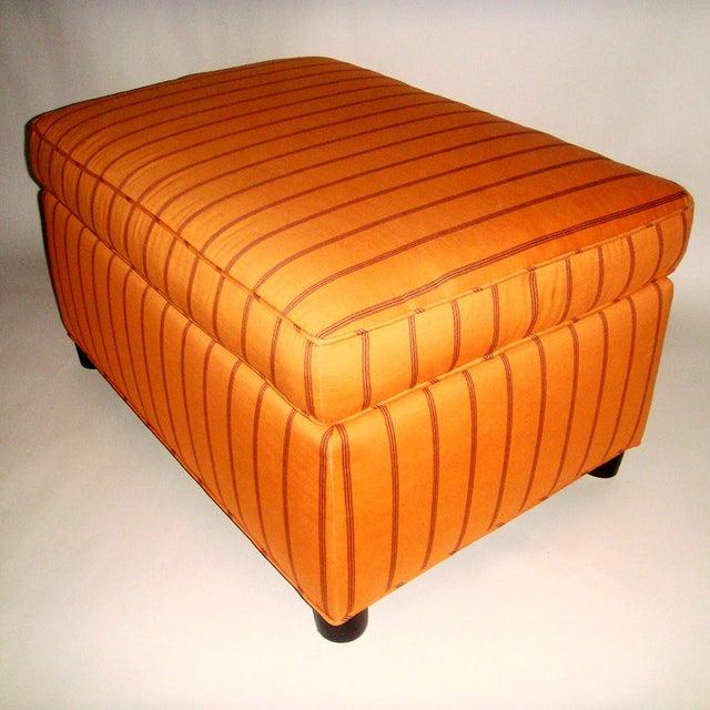 Mid-Century Orange Upholstered Ottoman - Image 3 of 5