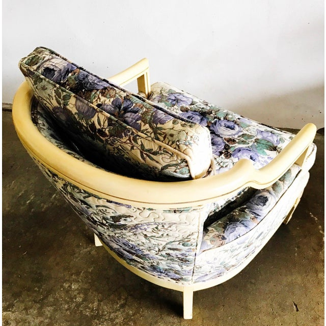 1950s Baker Vintage Violet Floral Club Lounge Chair - Pair For Sale - Image 5 of 8