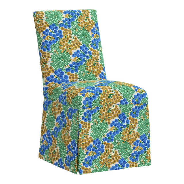 Slipcover Dining Chair in Loiret Blue Citrine For Sale
