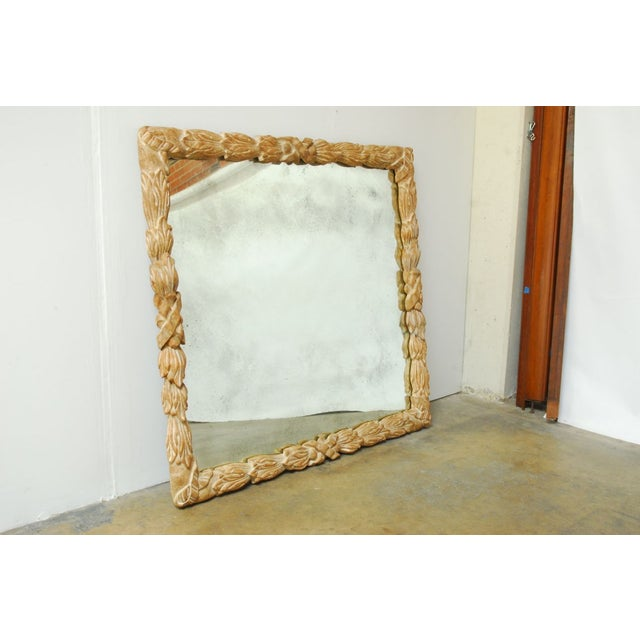 Monumental Hand-Carved Laurel Leaf Wood Mirror - Image 2 of 6