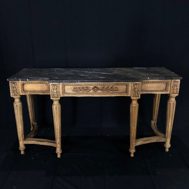 French Louis XVI Style Console Table With Marble Top For Sale - Image 13 of 13