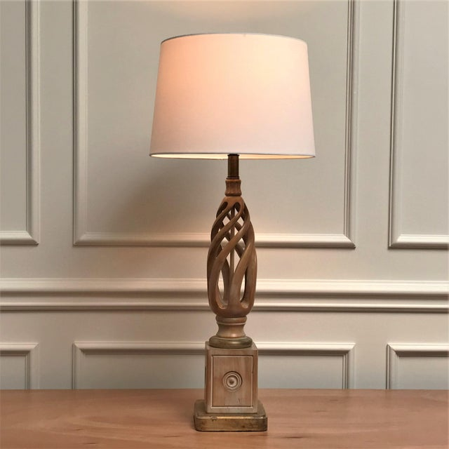 Mid Century Classicism Wood & Gilt Table Lamp For Sale - Image 13 of 13