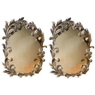 Fabulous and Rare Pair of Italian Scrolled Metal Mirrors Circa 1940 For Sale