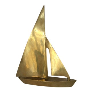 1970s Traditional Brass Sailboat Figurine For Sale