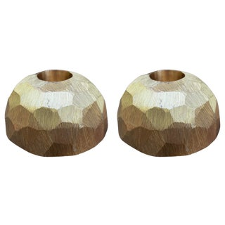Modern Faceted Brass Candlesticks - a Pair For Sale