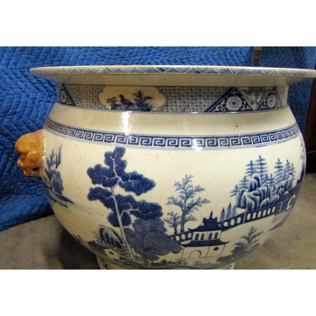 Asian Vintage Asian Blue and White Urn Pot With Applied Face Handles For Sale - Image 3 of 9