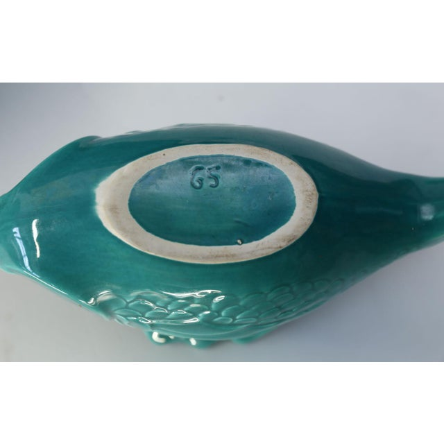 1950s Set of Teal Fish-Shape Ceramic Dishes For Sale - Image 5 of 11