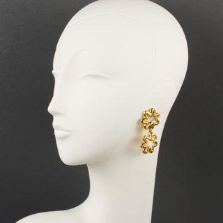 Lanvin Paris Signed Dangling Clip-On Earrings Gilt Metal Flower Preview