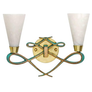 Bronze Sconce With Alabaster Shades in a Jules Leleu Style, 4 Available For Sale