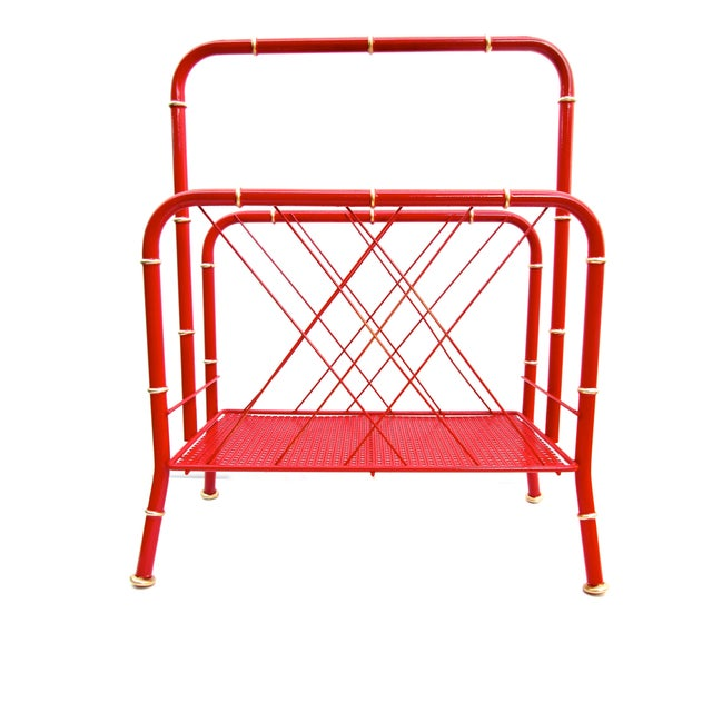 Vintage Red & Gold Faux Bamboo Magazine Rack For Sale