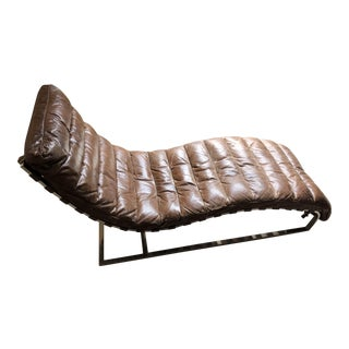 Mid-Century Modern Restoration Hardware Brown Leather Oviedo Chaise