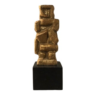 Contemporary Gold Stone Cubist Sculpture For Sale
