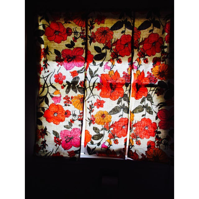 Vintage Swedish Flower Wall Panels Curtains Textile - Set of 4 - Image 3 of 10