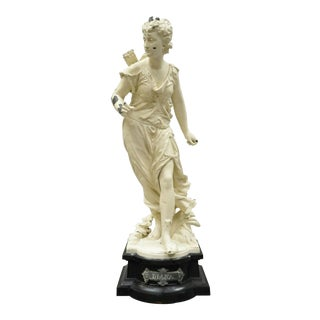 Antique Cast Spelter Greek Goddess Diana the Hunter French Statue Sculpture For Sale