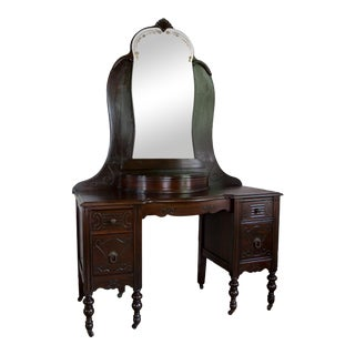 Antique Americana Art Deco Mirrored Vanity For Sale