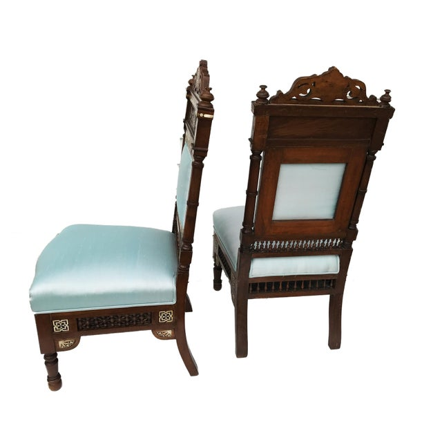 Suppler antique 19th century Moorish/Middle eastern Pair of Chairs probably Syrian all hand carved and decorated with...