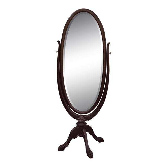 Vintage Mahogany Claw Foot Cheval Mirror For Sale