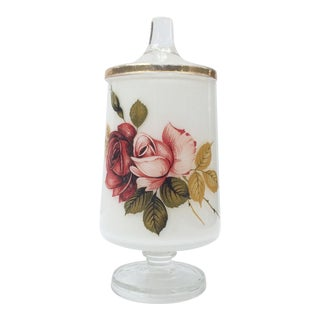 1930s Vintage Footed Cotton Ball Jar With Flowers and Gold Trim For Sale