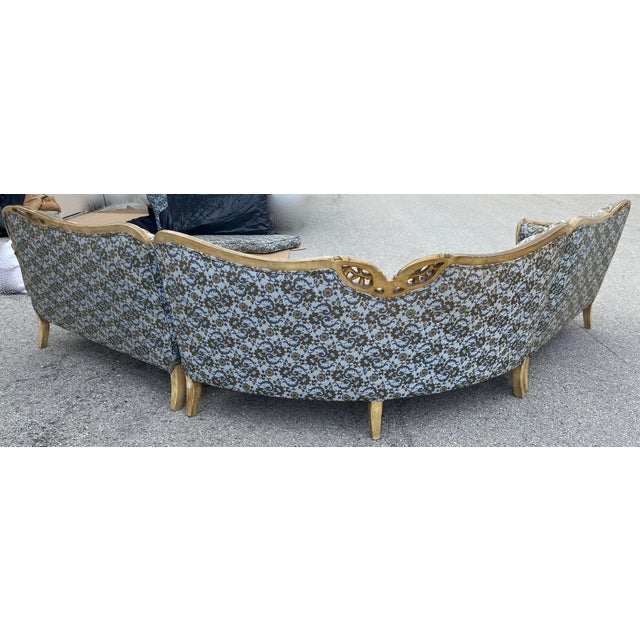 French Provincial Vintage Hollywood French Curved Sectional For Sale - Image 3 of 8