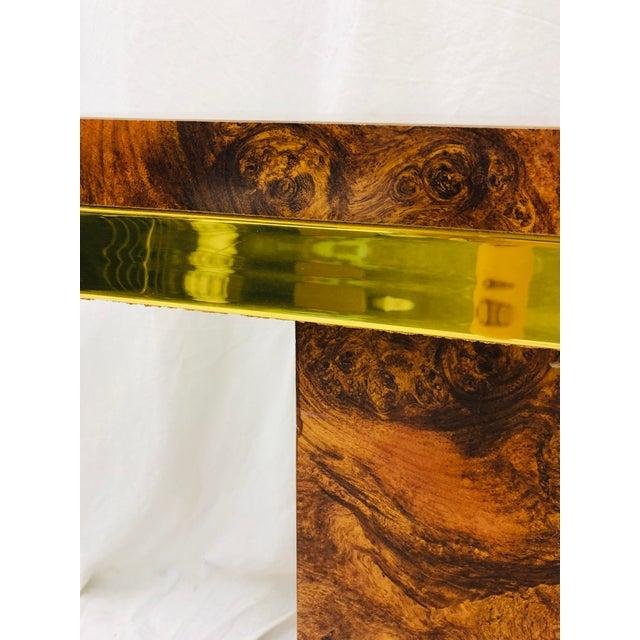 Vintage Modern Burl & Brass Table For Sale - Image 10 of 12