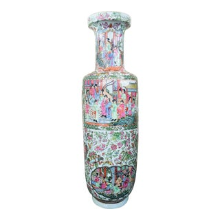 Vintage Mid Century Rose Medallion Hand Painted Chinese Vase For Sale