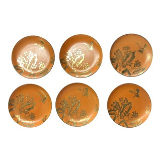 Dorothy Thorpe Mid-Century Chinoise Persimmon Salad Plates - Set of 6 For Sale
