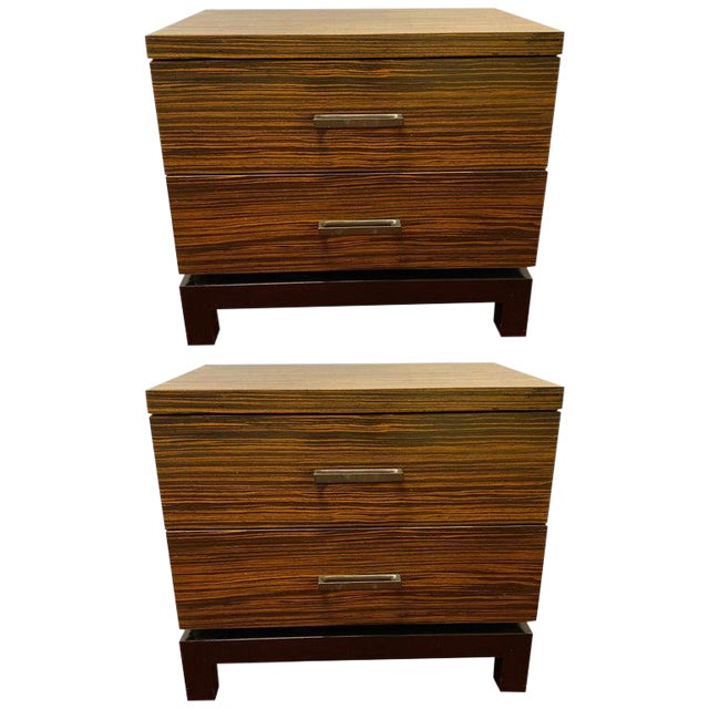 Hollywood Regency Style Zebra Wood End Tables / Nightstands or Chests, a Pair For Sale
