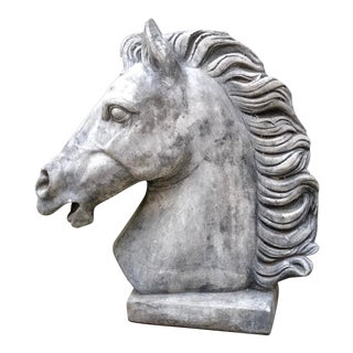 Regal Cast Concrete Architectural Element Horse Head Statuary For Sale