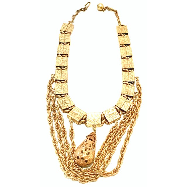 20th Century Art Nouveau Gold Book Chain Choker Style Necklace & Earrings - Set of 3 For Sale - Image 9 of 13